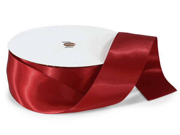 "Deep Red Double Faced Satin Ribbon, 1-1/2""x50 yards"