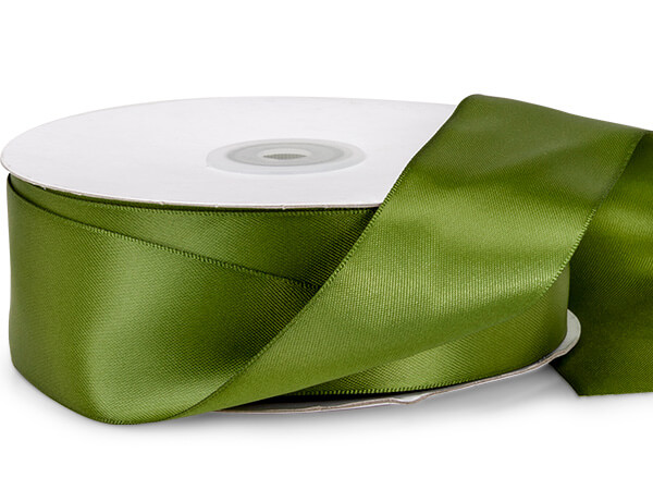 "Leaf Green Double Faced Satin Ribbon, 1-1/2""x50 yards"