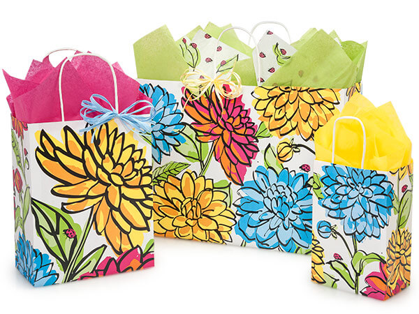 Vibrant Floral Paper Shopping Bags