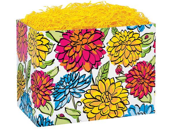 """Large Vibrant Floral Basket Boxes 10-1/4x6x7-1/2"""""""