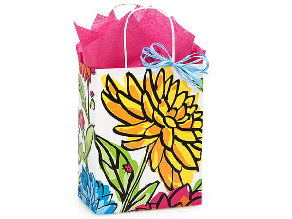 "Vibrant Floral Paper Shopping Bags Cub 8.25x4.75x10.5"", 25 Pack"