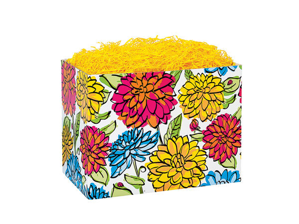 Small Vibrant Floral Basket Boxes 6-3/4x4x5""