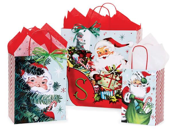 Vintage Santa Paper Shopping Bag Assortment, 125 Pack