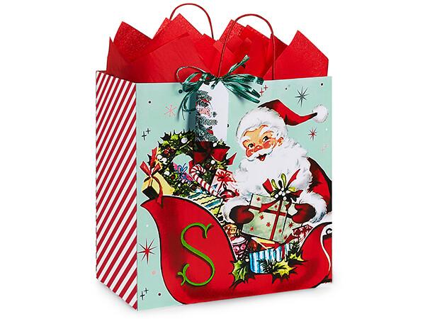 "Vintage Santa Paper Shopping Bag Filly 13x7x13"", 200 Pack"