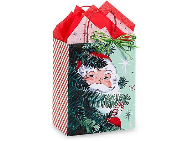 "Vintage Santa Paper Shopping Bag Cub 8x4.75x10"", 25 Pack"