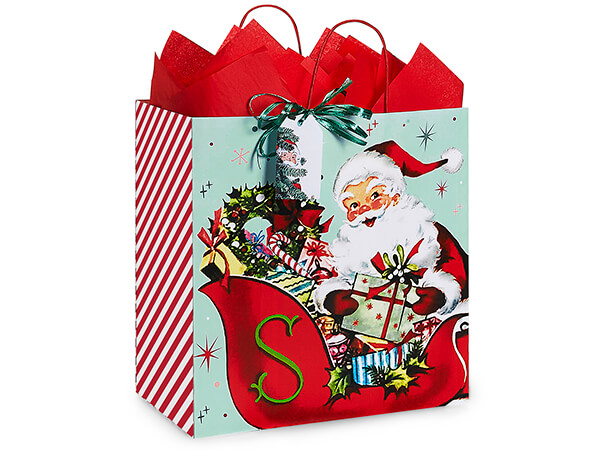 "Vintage Santa Paper Shopping Bag Filly 13x7x13"", 25 Pack"