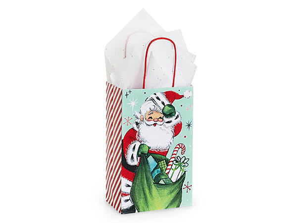 "Vintage Santa Paper Shopping Bag Rose 5.25x3.50x8.25"", 25 Pack"