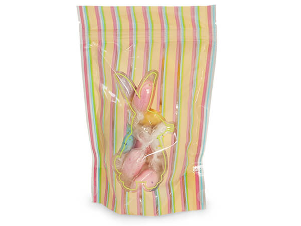 "4x5-1/2x2"" Striped Bunny Stand Up Zipper Top 2.5 mil Bags"