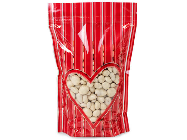 "4x5-1/2x2"" Valentine Heart Stand Up Zipper Top 2.5 mil Bags"