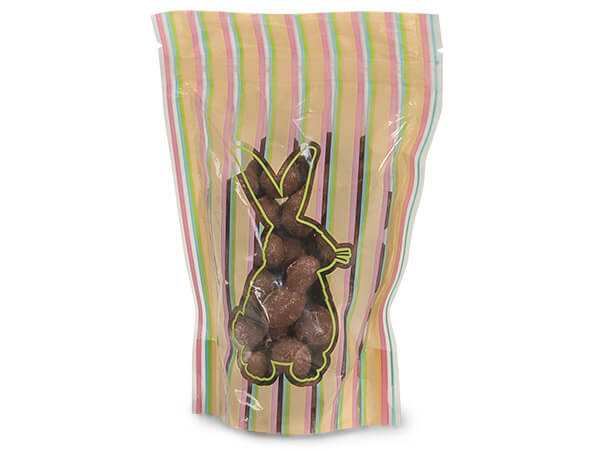 "5x8x2-1/2"" Striped Bunny Stand Up Zipper Top 2.5 mil Bags"