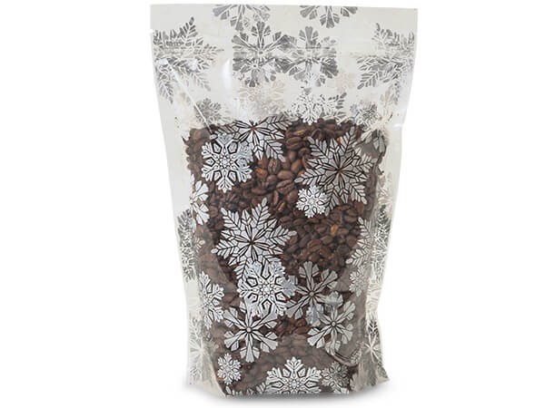 "6x9x2-1/2"" Snowflakes Stand Up Zipper Top 2.5 mil Bags"