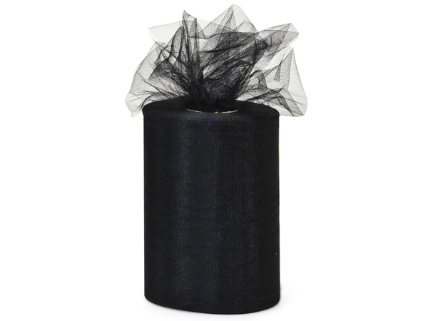 "Black Value Tulle Ribbon, 6""x100 yards"