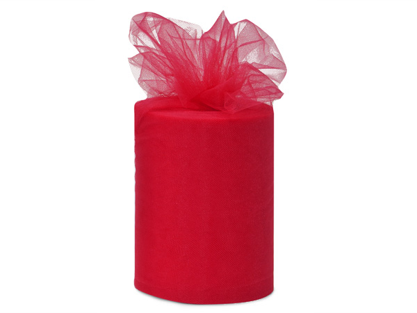 """Cherry Red Value Tulle Ribbon, 6""""x100 yards"""