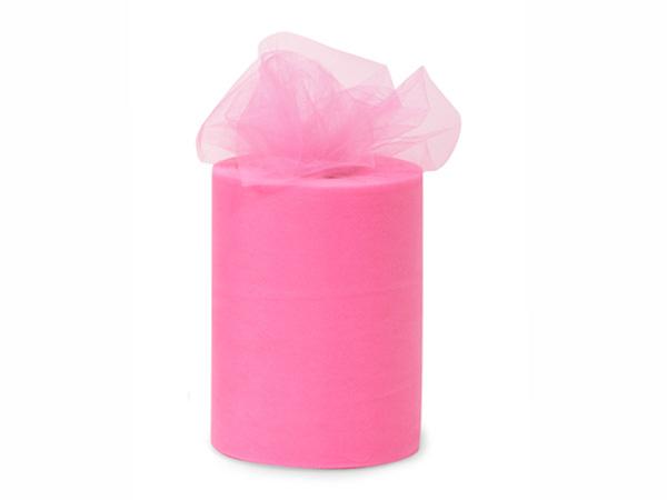 "Paris Pink Value Tulle Ribbon, 6""x100 yards"