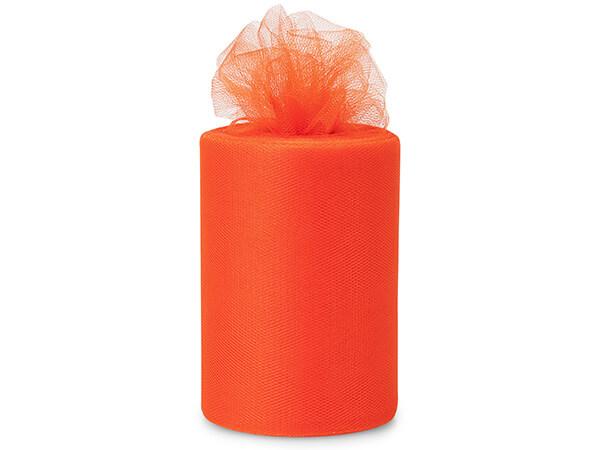 "Tropical Orange Tulle Ribbon, 6""x100 yards"