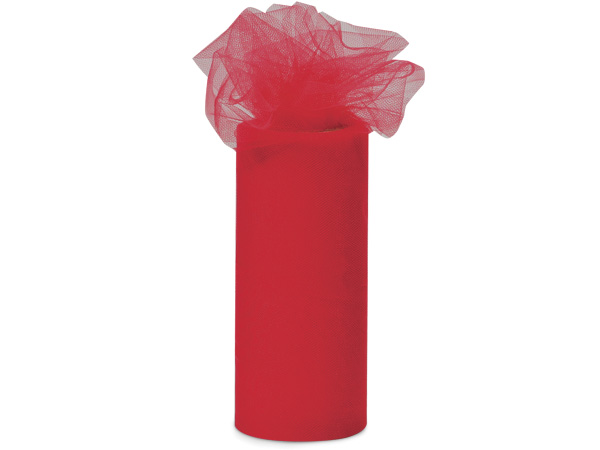 """Cherry Red Value Tulle Ribbon, 6""""x25 yards"""