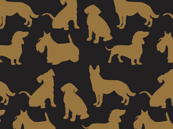 "Gold Puppy Love, 30""x25' Wrapping Paper Roll"