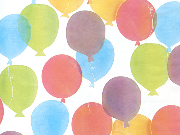 """*Birthday Balloons Wrapping Paper 30""""x150' Large Roll"""