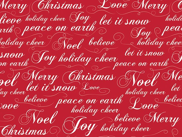 "Christmas Script 30"" x 25' Gift Wrap Roll"