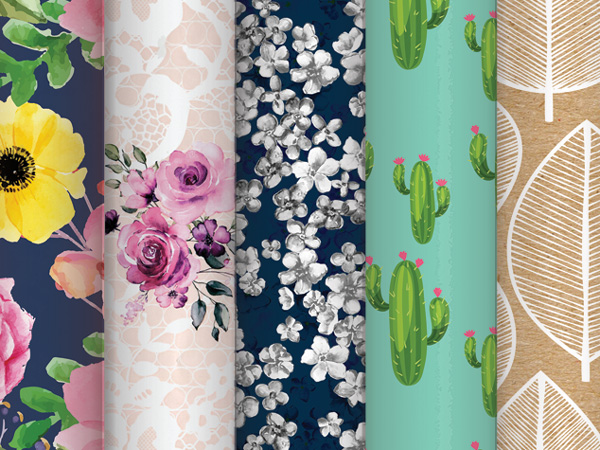 Floral Print Assortment, 24 Rolls, 4 Rolls Each of 6 Designs
