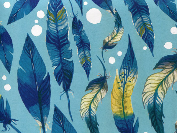 """Blue Feathers, 30""""x25' Wrapping Paper Roll"""