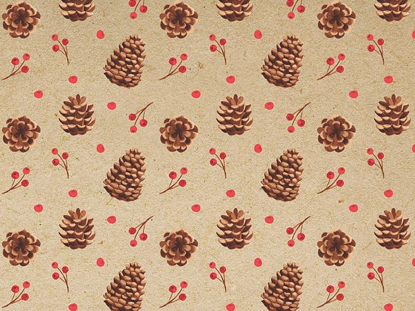 Kraft Pinecones Gift Wrapping Paper