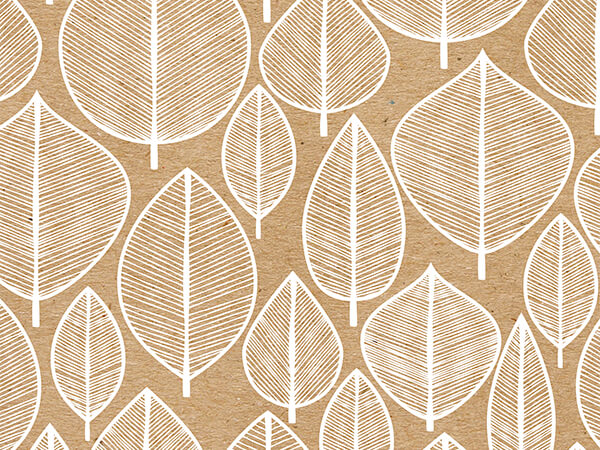 """Kraft Leaves, 30""""x25' Wrapping Paper Roll"""