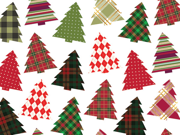 "Plaid Trees 30"" x 25' Gift Wrap Roll"