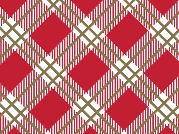 "Red and Gold Plaid 30"" x 25' Gift Wrap Roll"