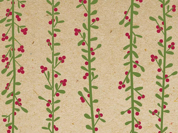 "Kraft Twigs and Berries 30"" x 25' Gift Wrap Roll"