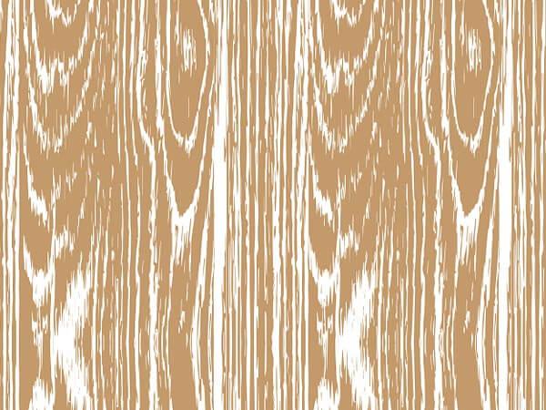"Kraft Woodgrain 30"" x 150' Gift Wrap Roll"