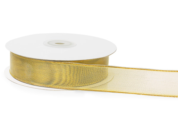 "Gold Mesh with Solid Gold Edges Wired Ribbon, 1""x25 yards"