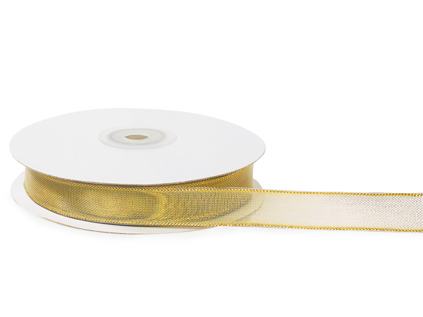 """Gold Mesh with Solid Gold Edges Wired Ribbon, 5/8""""x25 yards"""