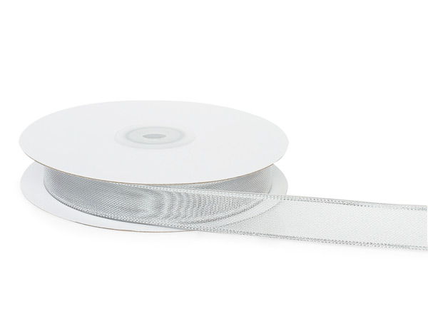 "Silver Wired Metallic Mesh Ribbon 5/8""x25 yds"