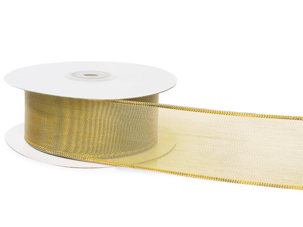"Gold Mesh with Solid Gold Edges Wired Ribbon, 1-1/2""x25 yards"