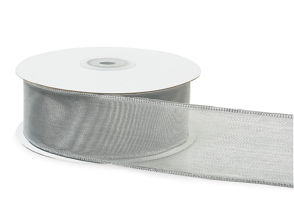 Wired Metallic Edge Silver Ribbon