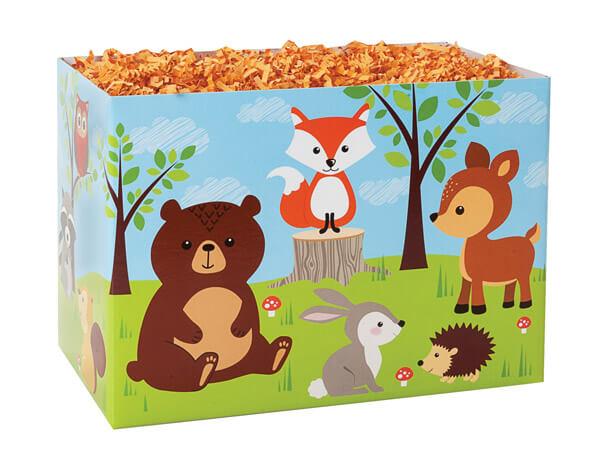 """Woodland Animals Basket Boxes, Large 10.25x6x7.5"""", 6 Pack"""