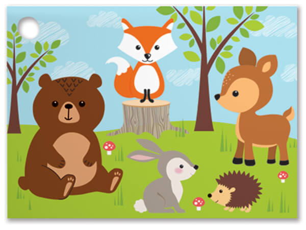 Woodland Animals Theme Gift Cards 3.75x2.75, 6 Pack