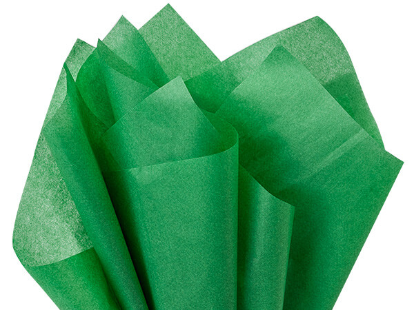 "Green Waxed Floral Tissue Paper, 18x24"", Bulk 480 Sheet Pack"