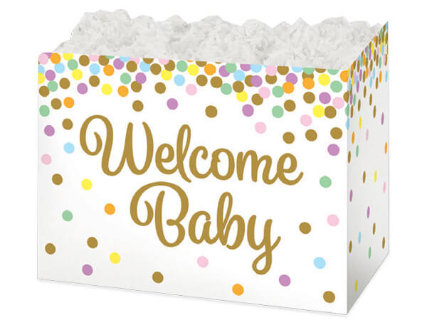 Large Welcome Baby Confetti Basket Boxes 10-1/4x6x7-1/2""