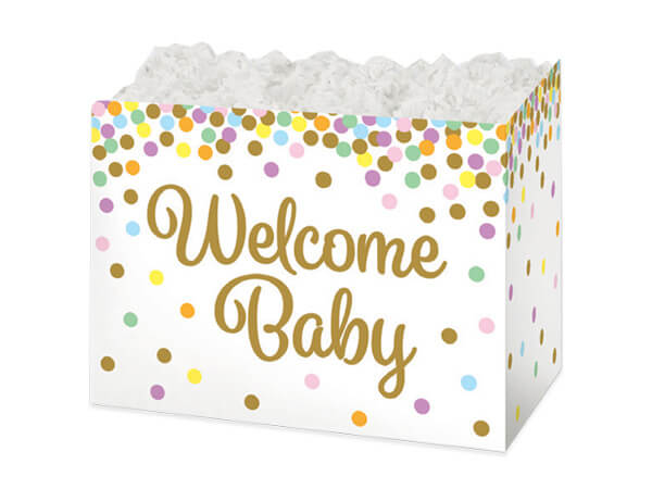 Small Welcome Baby Confetti Basket Boxes 6-3/4x4x5""