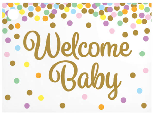 """*Welcome Baby Confetti Theme Gift Cards 3-3/4x2-3/4"""""""