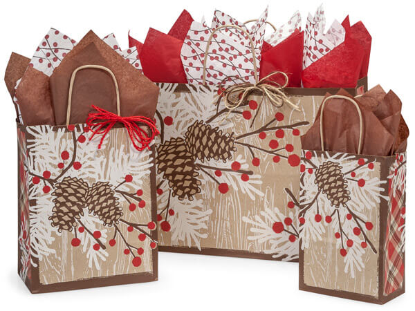 Woodland Berry Pine Paper Shopping Bag Assortment 125 Pack
