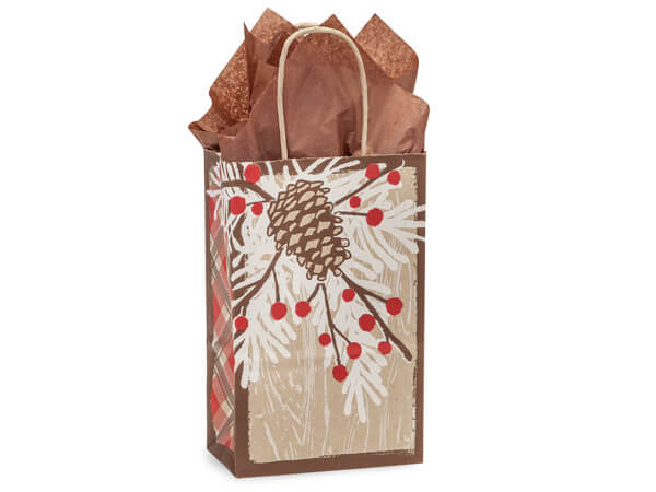 "Woodland Berry Pine Paper Shopping Bags, Rose 5.5x3.25x8.5"", 250 Pack"