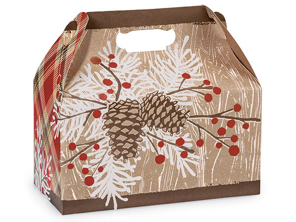 "Woodland Berry Pine Gable Box, 9.5x5x5"", 6 Pack"