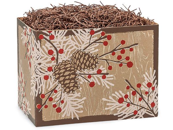 """Woodland Berry Pine Basket Boxes, Large 10.25x6x7.5"""", 6 Pack"""