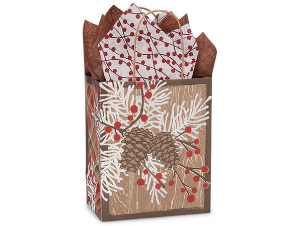 "Woodland Berry Pine Paper Shopping Bags, Cub 8x4.75x10.25"", 25 Pack"