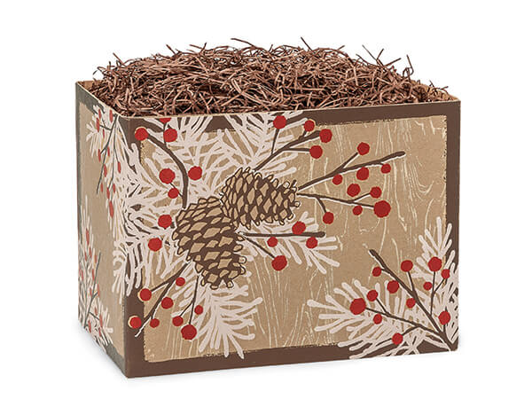 Small Woodland Berry Pine Basket Boxes 6-3/4x4x5""