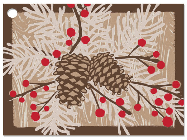 Woodland Berry Pine Gift Cards 3-3/4x2-3/4""