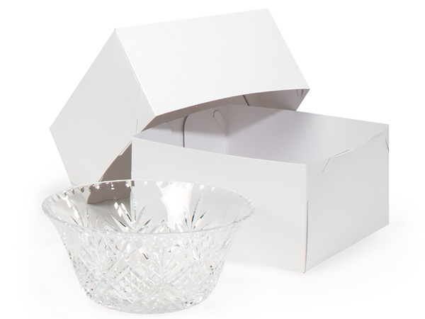 "Recycled White 2 Piece Gift Boxes, 9x9x5"", 50 Pack"
